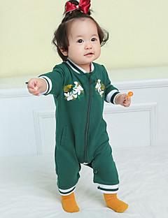 billige Babytøj-Baby Pige En del Afslappet/Hverdag Maleri, Bomuld Forår Langærmet Normal Lyserød Army Grøn