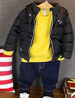 billige Tøjsæt til drenge-Herre Tøjsæt Daglig Ensfarvet, Bomuld Vinter Langærmet Sort