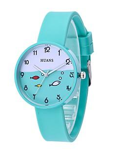 billige Børneure-Dame Quartz Armbåndsur Kinesisk Afslappet Ur Silikone Bånd Afslappet Minimalistisk Mode Sort Hvid Blåt Grøn Pink Kløvergrøn