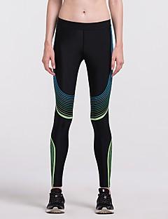 billige Løbetøj-Dame Løbetights Tights - Sport Løb Hurtigtørrende Mørkeblå, Gul, Sølv+Blå Trykt mønster