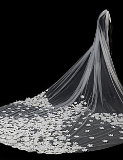 billiga Brudslöjor-Två lager Modern Stil / Accessoarer / Blomstil Brudslöjor Rouge Slöjor / Kapell Slöjor med Applikationsbroderi Tyll / Ängelsnitt / Vattenfall / Spetskant