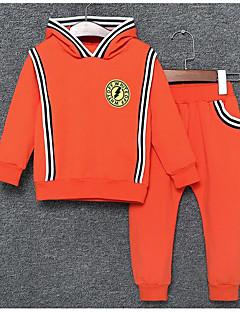 billige Tøjsæt til drenge-Drenge Daglig Tøjsæt, Bomuld Efterår Langærmet Afslappet Grøn Orange Rød Gul
