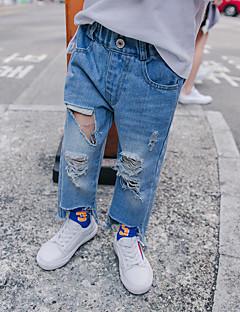 billige Jeans til drenge-Drenge Jeans Daglig Ensfarvet, Uld Bomuld Hør Bambus Fiber Akryl Forår Simple Lyseblå
