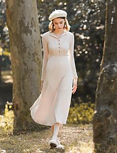 billige MASKED QUEEN-Dame Vintage Skede Kjole - Ensfarvet Midi V-hals Høj Talje