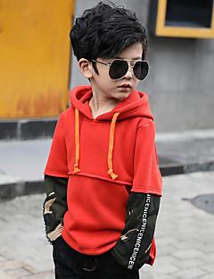 billige Hættetrøjer og sweatshirts til drenge-Drenge Hættetrøje og sweatshirt Ensfarvet Stribet Farveblok, Bomuld Vinter Langærmet Simple Grøn Sort Orange