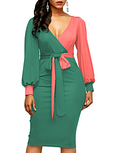 cheap Women's Dresses-Women's Bodycon Dress - Color Block, Ruched High Waist V Neck