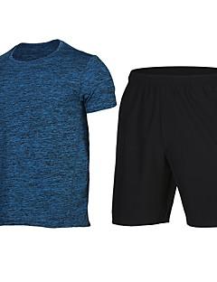 billige Løbetøj-Herre T-shirt og shorts til løb og jogging Sport Shorts / Sweatshirt - Kortærmet Udendørs Træning, Løb Hurtig Tørre Blå, Lys pink, Grå