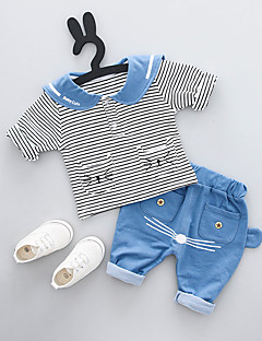 tanie Odzież dla chłopców-Komplet odzieży Inne Dla chłopców Codzienny Prążki Lato Krótki rękaw White Blushing Pink Yellow Light Blue