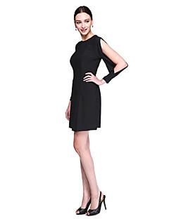 billiga Kändisklänningar-Åtsmitande Prydd med juveler Knälång Stretchig satäng Cocktailfest / Bal Klänning med Plisserat av TS Couture®