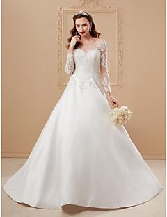 billiga Plusstorlek brudklänningar-A-linje / Prinsessa Illusion Halsband Hovsläp Spets på satin Bröllopsklänningar tillverkade med Spets av LAN TING BRIDE® / Öppen Rygg