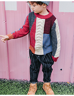 cheap Boys' Clothing-Boys' Going out Color Block Sweater & Cardigan, Polyester Spring Long Sleeves Casual Rainbow