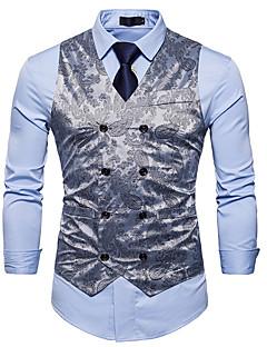 お買い得  メンズファッション&ウェア-男性用 ベスト - アジアン・エスニック スリム フラワープリント