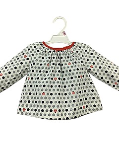 billige Babyoverdele-Baby Pige Skjorte Daglig Prikker, Bomuld Langærmet Sødt Afslappet Aktiv Hvid