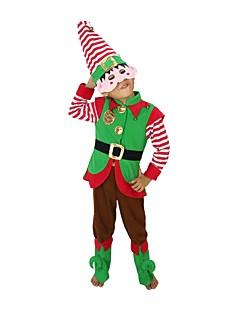 billige julen Kostymer-Nisse drakter Alv Julehue Julkjole Barne Jul Festival / høytid Halloween-kostymer Grønn Jul Jul