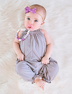 cheap The Freshest One-Piece-Baby Girls' Simple / Vintage Daily Solid Colored Short Sleeves / Sleeveless Cotton / Linen / Bamboo Fiber Overall & Jumpsuit Pink / Toddler
