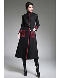 billige Kvinder Overtøj-Høj krave Trykt mønster Broderi Dame Helfarve Vintage Frakke
