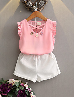 cheap Girls' Clothing-Girls' Daily Solid Clothing Set, Cotton Summer Sleeveless Red Blushing Pink
