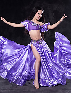 cheap Belly Dance Wear-Belly Dance Outfits Performance Spandex Ruffles Short Sleeve Dropped Skirts Top