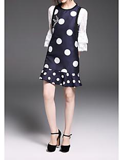 Χαμηλού Κόστους Polka Dot Dresses-Γυναικεία Φαρδιά Φόρεμα - Πουά, Βασικό