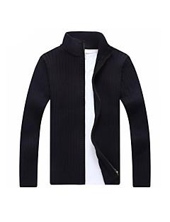tanie Męskie swetry i swetry rozpinane-Męskie Na co dzień Stójka Rozpinany Jendolity kolor Długi rękaw