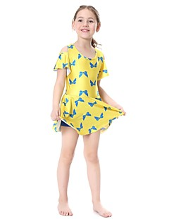billige Badetøj til piger-Pige Trykt mønster Badetøj, Nylon Lycra Sort Gul