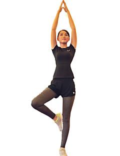 billiga Träning-, jogging- och yogakläder-Dam Sportskläder Set - Svart sporter Träningsoverall / Leggings Land, Löpning Kortärmad Sportkläder Snabb tork, Vindtät, Bärbar Hög