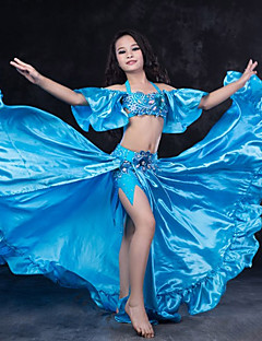 tanie Dziecięca odzież do tańca-Taniec brzucha Outfits Wydajność Spandeks Falbany Z krótkim rękawem Wypada Spódnice Top Chusta biodrowa do tańca brzucha Szorty