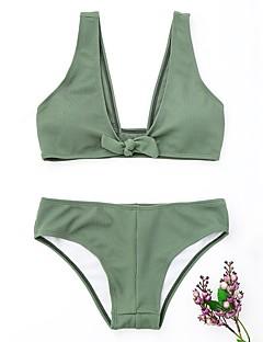 billige Bikinier og damemote 2017-Dame Helfarge Bikini Badetøy Enkel Grunnleggende Med stropper Grønn Hvit