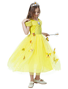 billige Halloweenkostymer-Prinsesse / Cinderella / Eventyr Cosplay Kostumer / Party-kostyme Jul / Halloween / Karneval Festival / høytid Halloween-kostymer Lyseblå / Gul / Rosa Trykt mønster / Chiffon