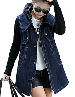 cheap -Women's Daily Going out Simple Casual Winter Fall Long Denim Jacket, Solid Peter Pan Collar Cotton