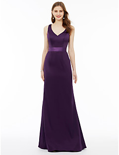 cheap Purple Passion-A-Line Princess V-neck Floor Length Chiffon Bridesmaid Dress with Sash / Ribbon Pleats by LAN TING BRIDE®