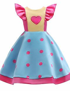 billige Pigekjoler-Pigens Kjole Daglig I-byen-tøj Ensfarvet Prikker Blomstret, Bomuld Polyester Forår Sommer Uden ærmer Sødt Aktiv Blå
