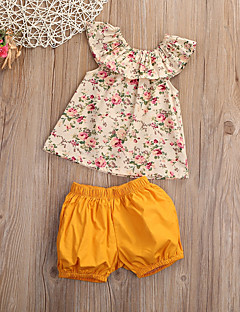 cheap Girls' Clothing-Girls' Sports Going out Floral Clothing Set, Cotton Summer Sleeveless Cute Active Yellow