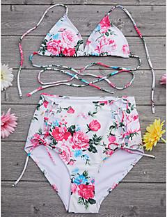 billige Bikinier og damemote-Dame Snøring Høy Midje Blomstret Blomster / Høyt liv / Kryss Grime Regnbue Bikini Badetøy - Blomstret M L XL