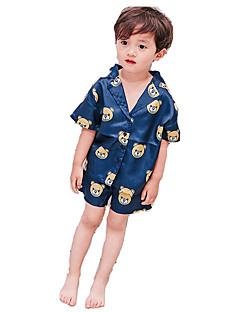 billige Gutteklær-Gutt Daglig Tøysett Geometrisk Polyester Sommer Halvlange ermer Vintage Hvit Marineblå