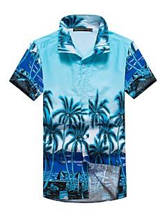 billige Herremote og klær-Bomull Kortermet, Skjortekrage Skjorte Geometrisk Sommer Enkel Sport Ferie Herre
