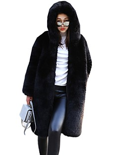 cheap Women's Fashion & Clothing-Women's Daily Going out Chinese Red Winter Fall Long Fur Coat, Solid Multi Color Chinese Red Hooded Faux Fur