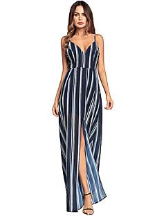 Χαμηλού Κόστους Prugasto & Καρό-Γυναικεία Εξόδου Βαμβάκι Λεπτό Swing Φόρεμα - Ριγέ, Σκίσιμο Μίντι Ψηλή Μέση Τιράντες