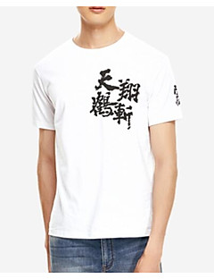 billige Herremote og klær-Bomull Rund hals T-skjorte Herre