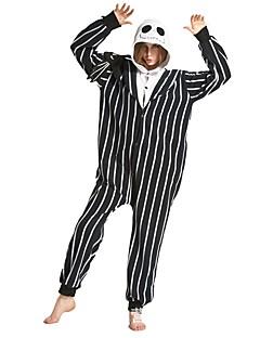 billige Kigurumi-Voksne Skjelett Onesie-pysjamas Kostume Polyester Svart / Hvit Cosplay Til Pysjamas med dyremotiv Tegnefilm Halloween Festival / høytid