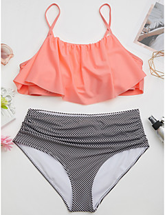 billige Bikinier og damemote-Dame Høyt liv / Rynker Svart Rosa Lilla Bukse Bikini Badetøy - Fargeblokk M L XL