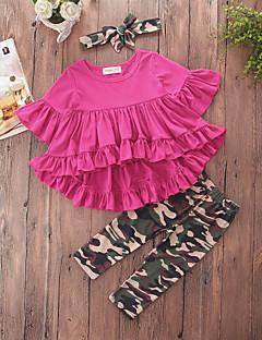 billige Tøjsæt til piger-Pige Tøjsæt Daglig I-byen-tøj Ensfarvet Geometrisk camouflage, Bomuld Polyester Forår Sommer Halvlange ærmer Sødt Afslappet Aktiv Rød