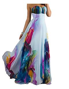 ieftine Timpul pentru imprimare-Pentru femei Casual Pantaloni - Floral Fără Spate Talie Înaltă Alb / Maxi / Fără Bretele