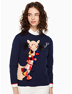 cheap Women's Sweaters-Women's Long Sleeves Pullover - Animal, Basic Crew Neck