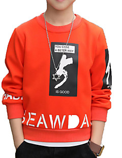 tanie Odzież dla chłopców-Bluza z kapturem / bluza Bawełna Poliester Dla chłopców Codzienny Sport Jendolity kolor Nadruk Wiosna Jesień Długi rękaw Prosty Na co