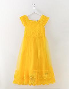 tanie Odzież dla dziewczynek-Sukienka Poliester Dziewczyny Codzienny Wyjściowe Jendolity kolor Wiosna Lato Bez rękawów Prosty Aktywny Yellow