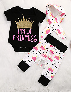 billige Sett med babyklær-Baby Pige Tøjsæt Daglig Trykt mønster, Bomuld Spandex Forår Sommer Kortærmet Afslappet Aktiv Sort