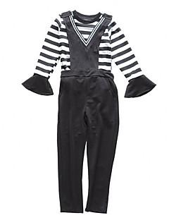 billige Tøjsæt til piger-Pige Tøjsæt Daglig Ferie Ensfarvet Stribet, Bomuld Polyester Forår Efterår Kortærmet Langærmet Simple Afslappet Sort