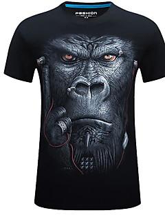 billige Herremote og klær-Bomull Rund hals T-skjorte - Geometrisk, Grunnleggende Herre