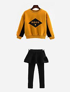 billige Tøjsæt til piger-Pige Tøjsæt Daglig Geometrisk, Polyester Forår Langærmet Simple Gul